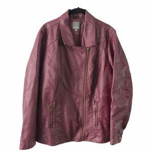 Faux Leather Moto Jacket Burgundy 16